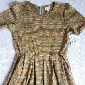 Lularoe Mustard Yellow Braided Amelia Dress